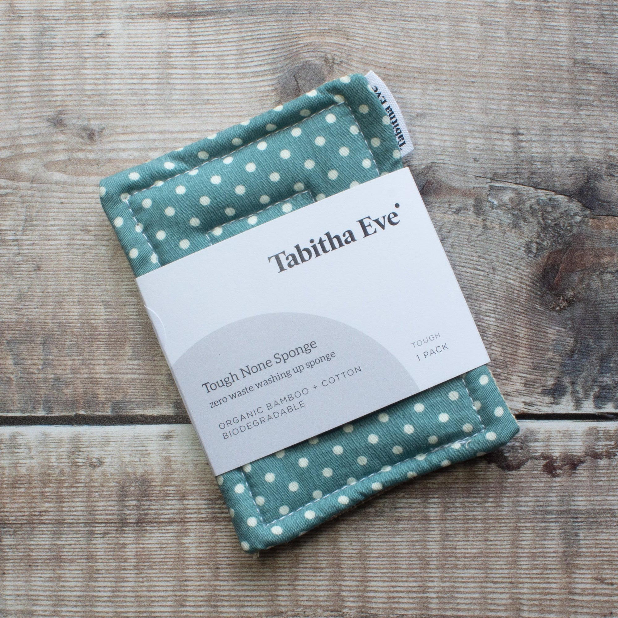 Tough None Sponge - Teal & White Dot | Washing Up Sponges - The Naughty Shrew