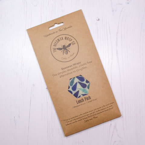 Beeswax Food Wrap - Lunch Pack - Dewdrop Design - the naughty shrew