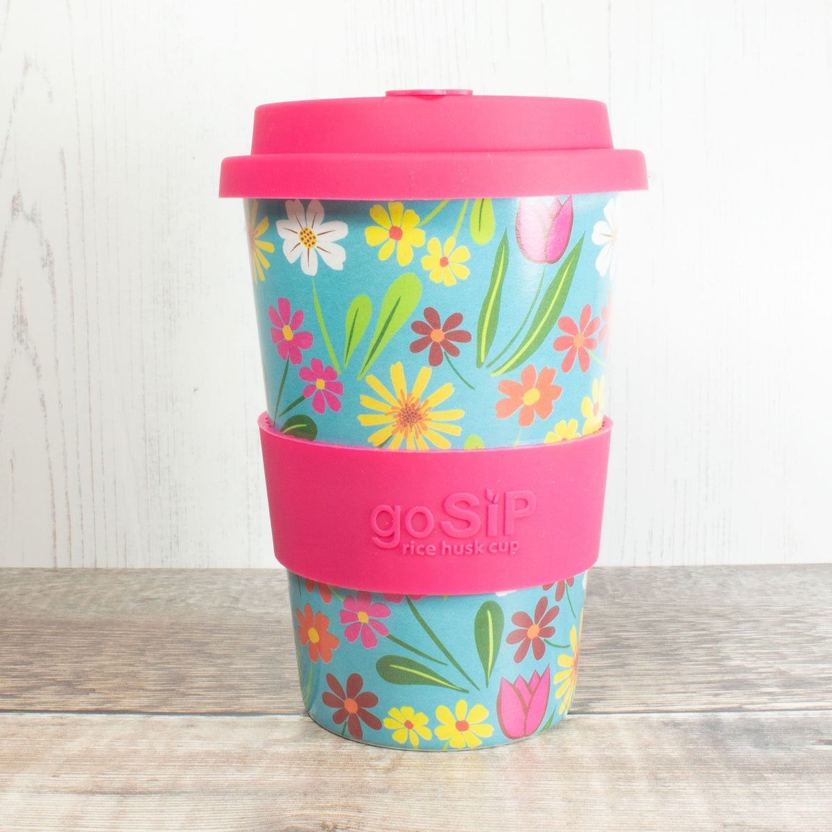 Rice Husk Coffee Cup - Turquoise Flowers | Cup - The Naughty Shrew