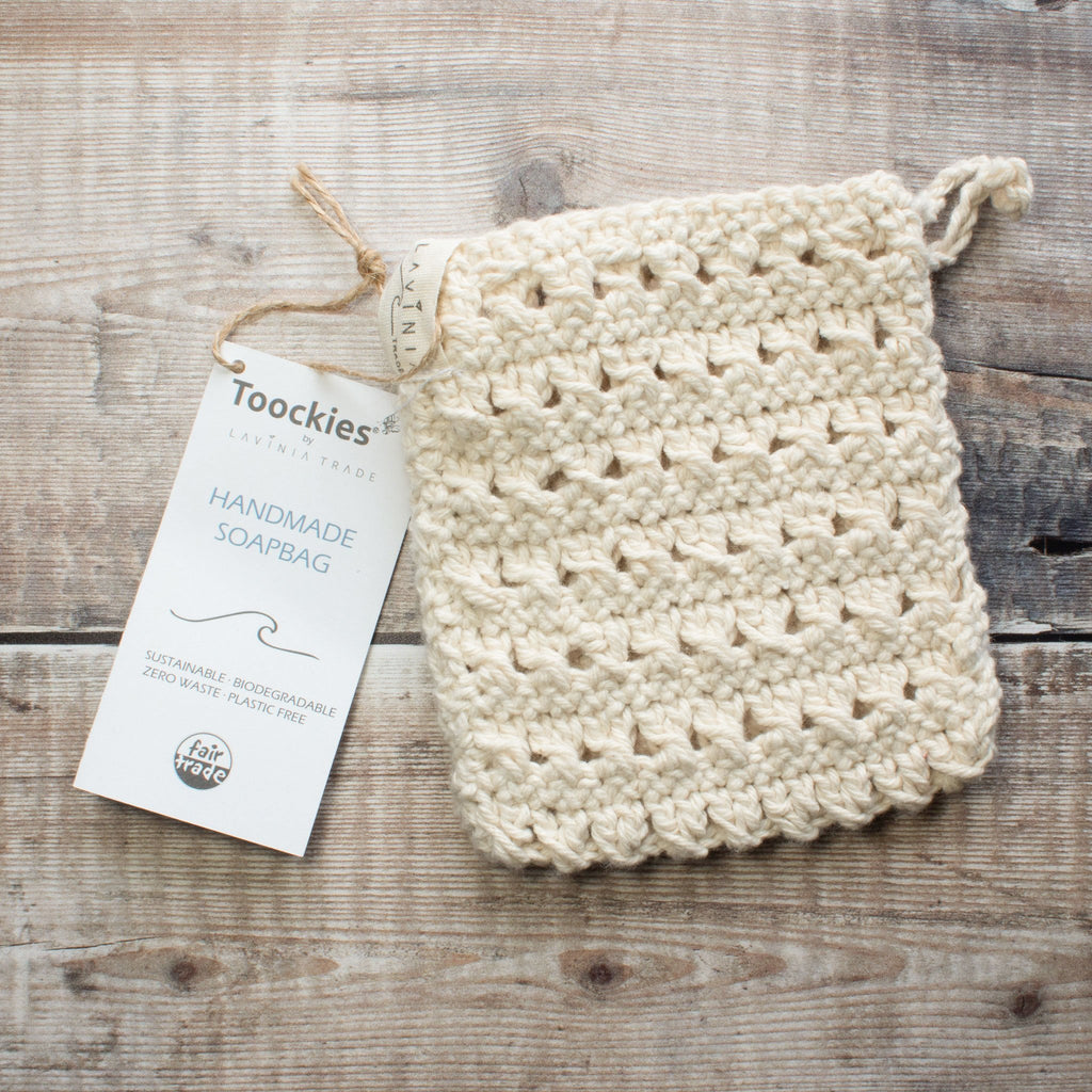 Knitted Organic Cotton Soap Bag | Flannel - The Naughty Shrew