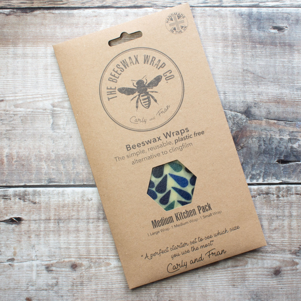 Beeswax Food Wrap - Medium Kitchen Pack - Dewdrop Design - the naughty shrew