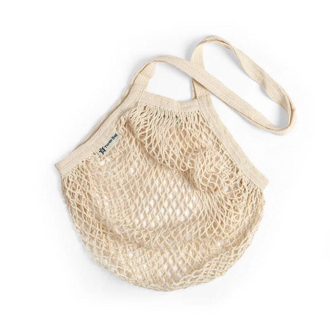 Long Handled Organic Cotton String Bag - Cream | String Bag - The Naughty Shrew