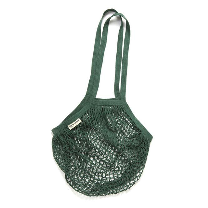 Long Handled Organic Cotton String Bag - Green | String Bag - The Naughty Shrew