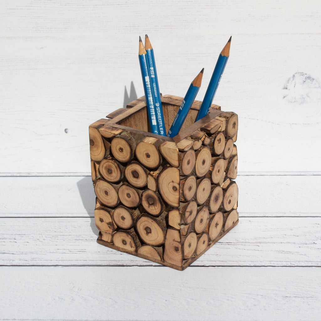 Mango Wood Pencil Pot | Pencil Pot - The Naughty Shrew