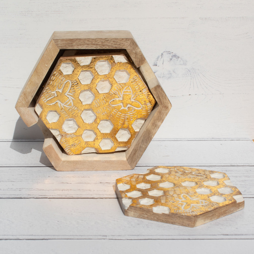 Bee & Honeycomb Mango Wood Coasters - Set of 4 | Coaster - The Naughty Shrew