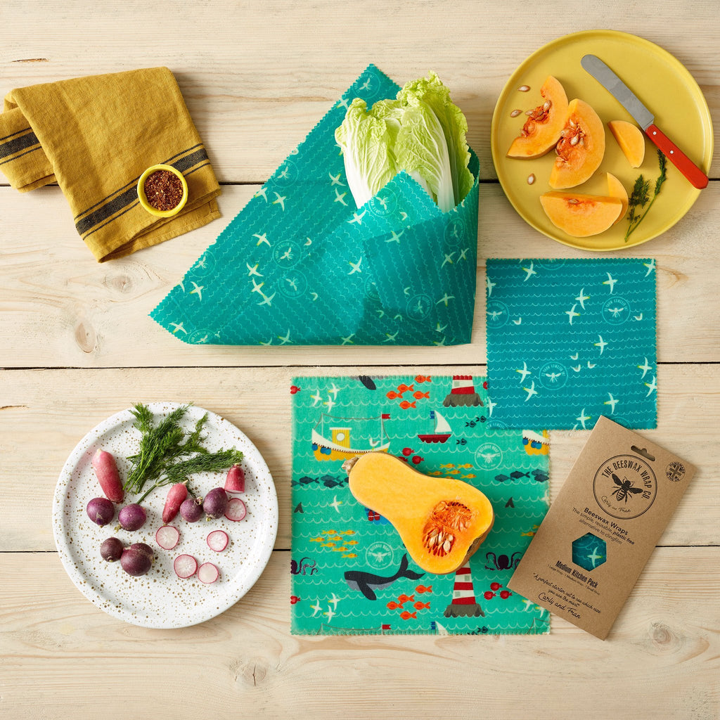 Beeswax Food Wrap - Medium Kitchen Pack - Sea Design - The Naughty Shrew