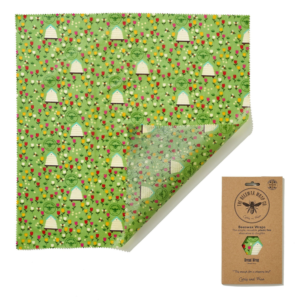 Beeswax Food Wrap - Bread Wrap - Meadow Design | Food Wrap - The Naughty Shrew