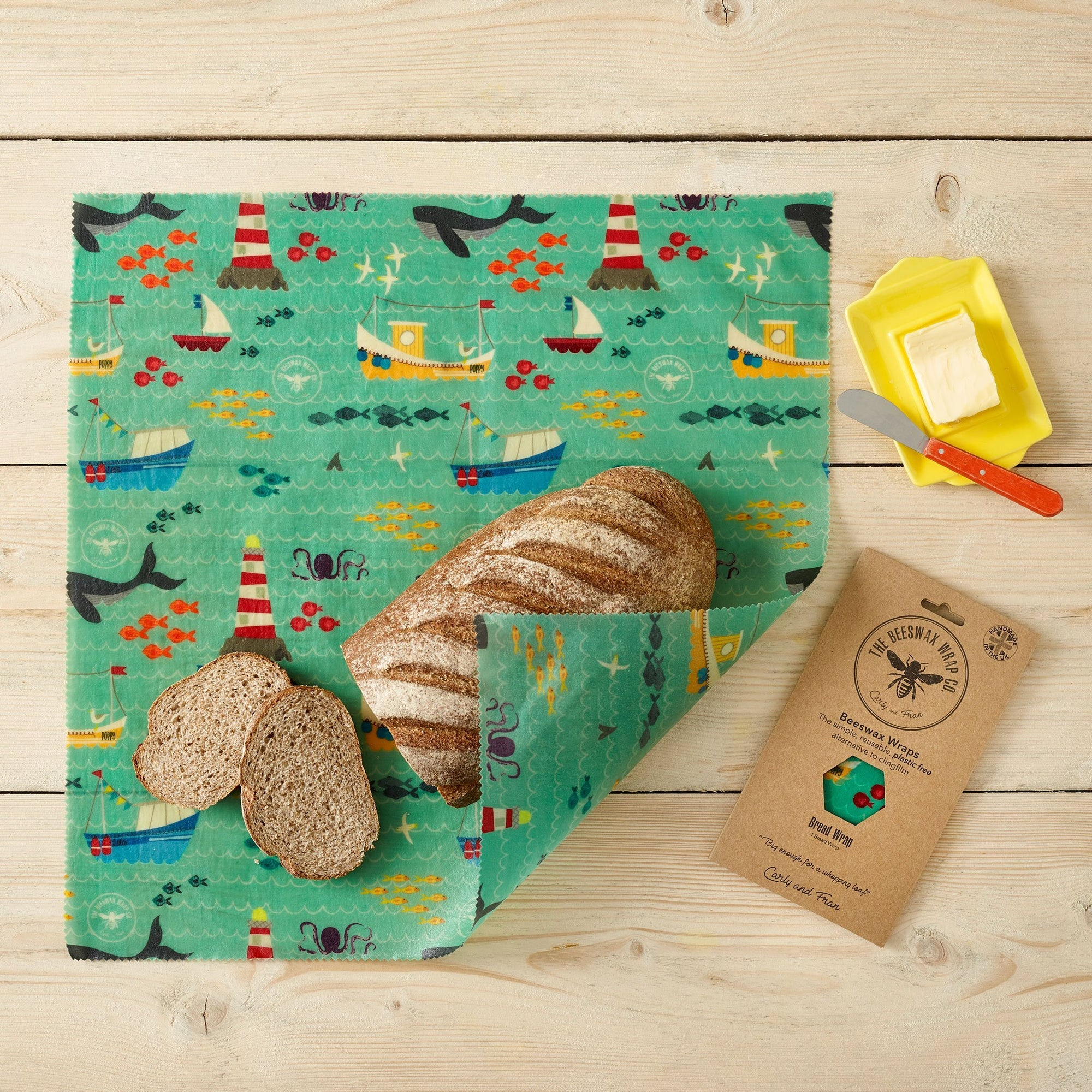 Beeswax Food Wrap - Bread Wrap - Sail Design | Food Wrap - The Naughty Shrew