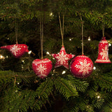 Bauble Christmas Decoration Set - Red Snowflake Design - Set Of 5 | Christmas Decoration - The Naughty Shrew
