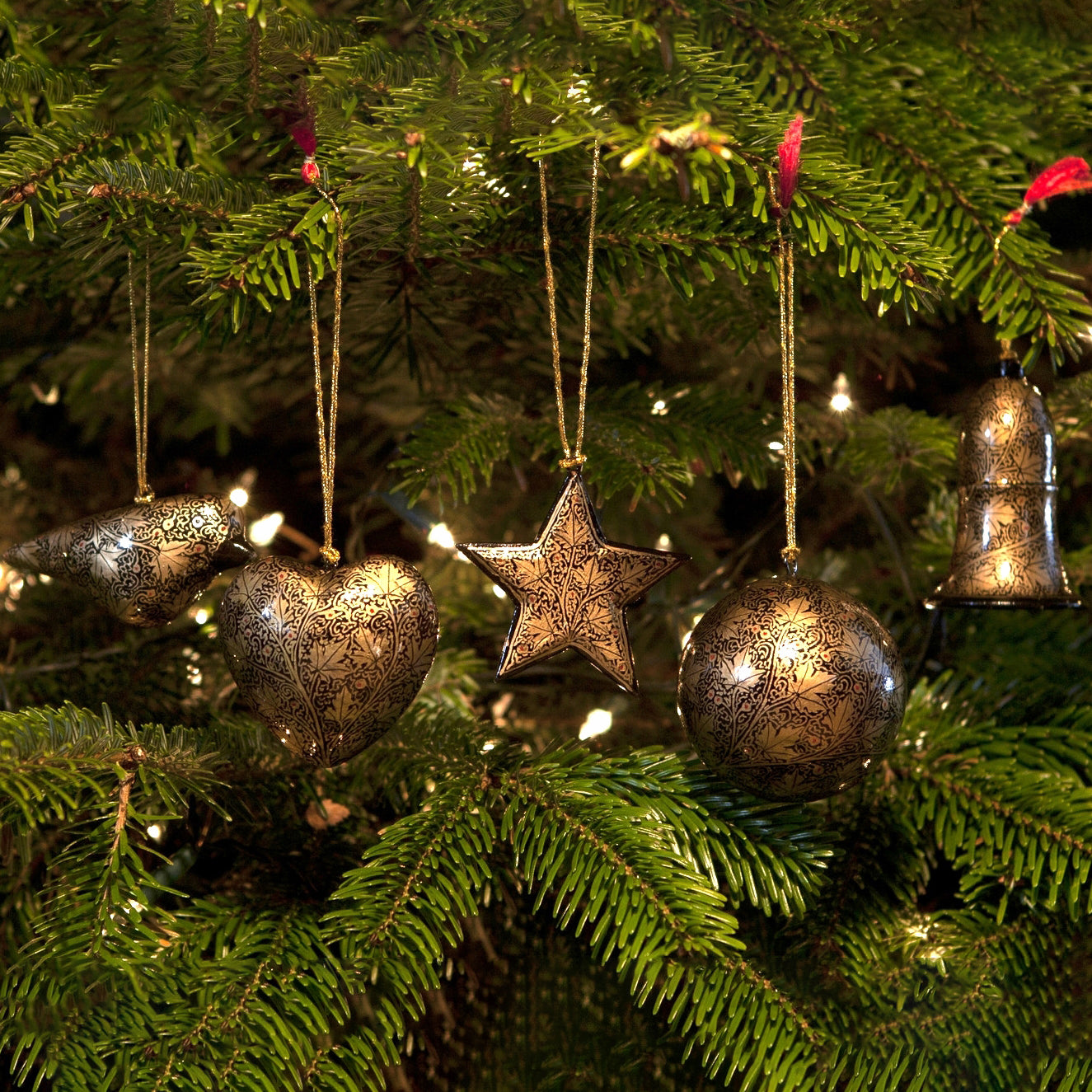 Bauble Christmas Decoration Set - Gold Leaf Design - Set Of 5 | Christmas Decoration - The Naughty Shrew
