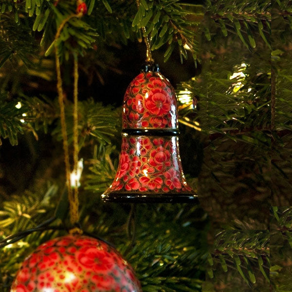 Christmas Decoration - Gold Rose Design - Bell | Christmas Decoration - The Naughty Shrew