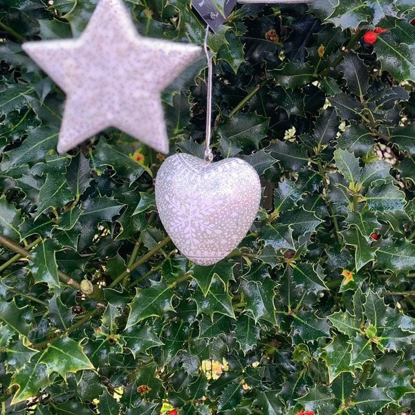 Christmas Decoration - Silver Snowflake Design - Heart | Christmas Decoration - The Naughty Shrew