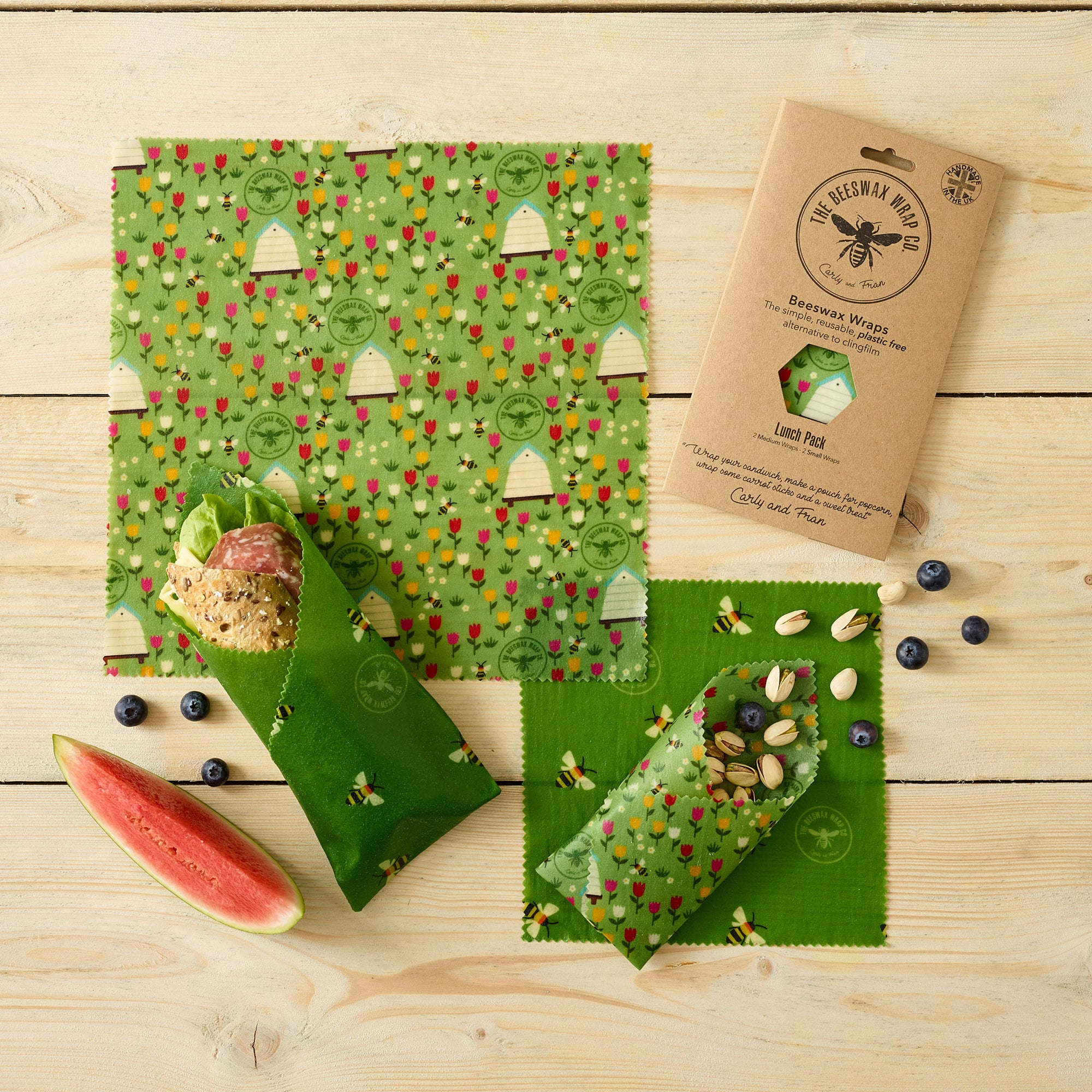 Beeswax Food Wrap - Lunch Pack - Meadow Design | Food Wrap - The Naughty Shrew