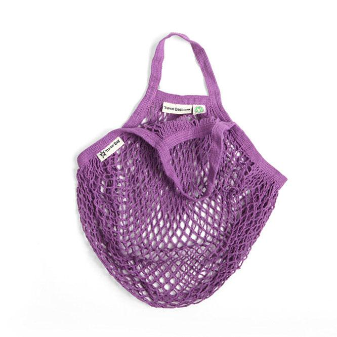 Short Handled Organic Cotton String Bag - Purple | String Bag - The Naughty Shrew