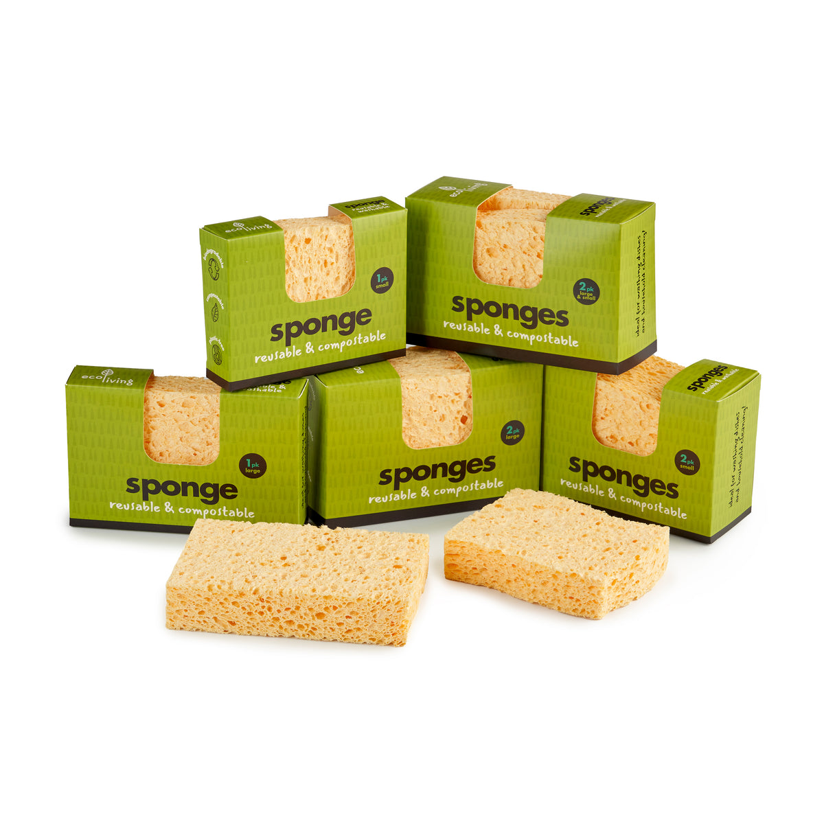 Compostable Cleaning Sponge - 1x Larger & 1x Smaller Wavy Sponge | Cleaning Sponge - The Naughty Shrew
