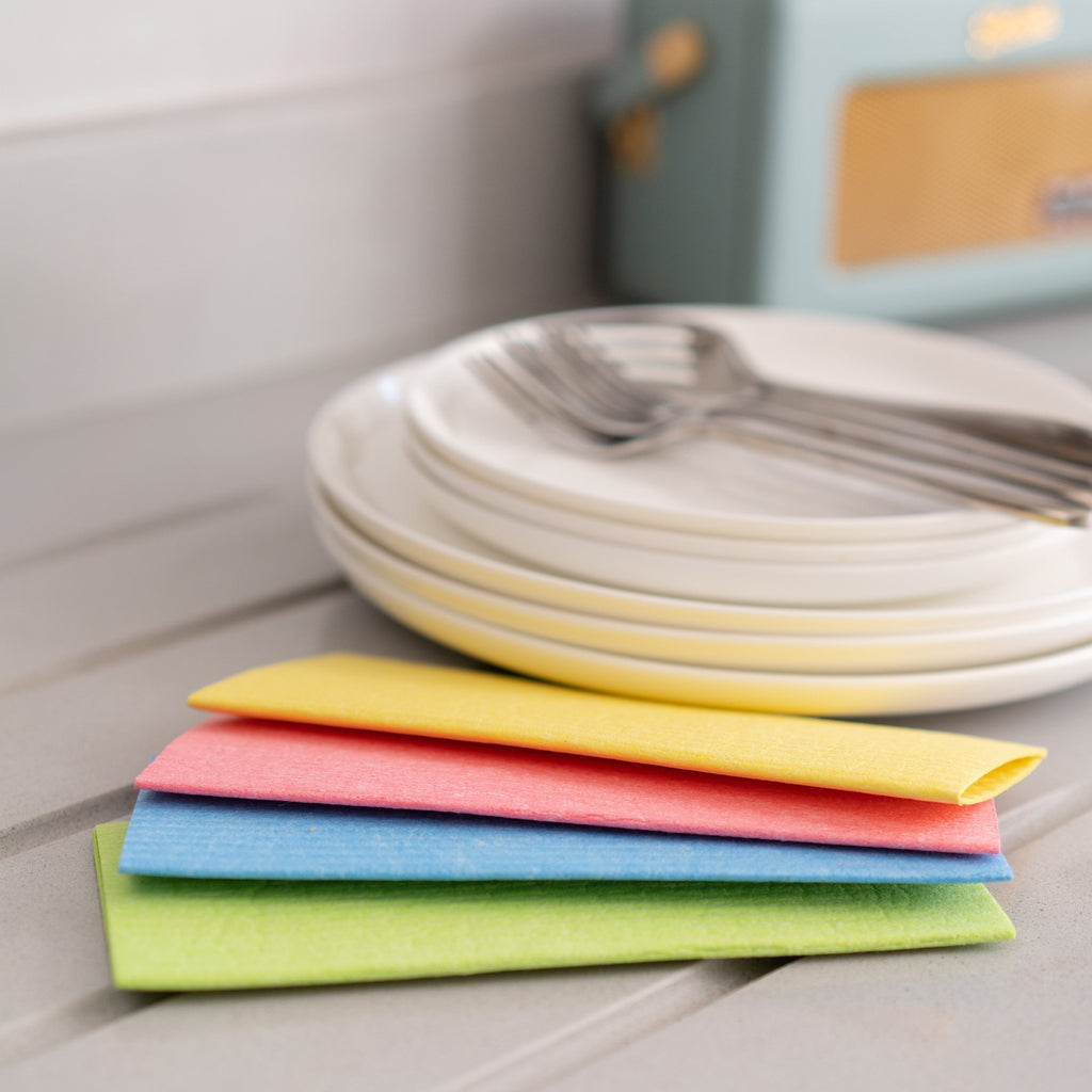 Compostable Sponge Cleaning Cloths - Rainbow | Cleaning Cloths - The Naughty Shrew
