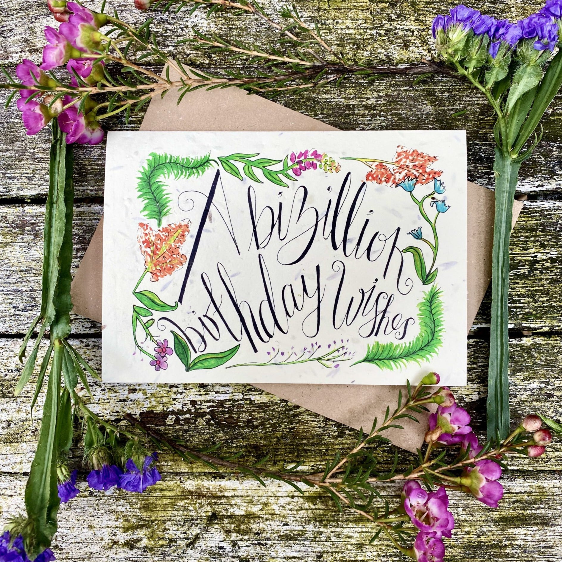 A Bizillion Birthday Wishes - Plantable Wildflower Card | Greetings Card - The Naughty Shrew