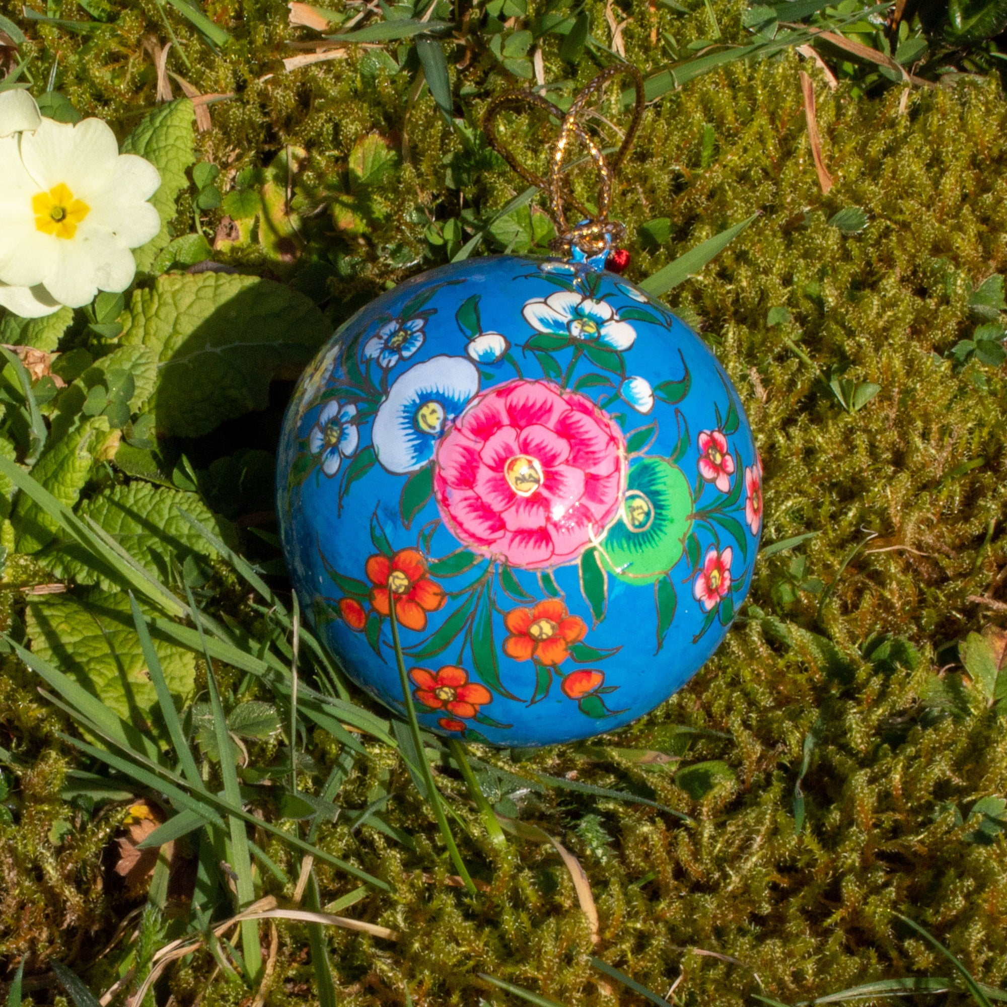 Spring/Easter Decoration - Blue Bauble With Painted Flowers | Decoration - The Naughty Shrew