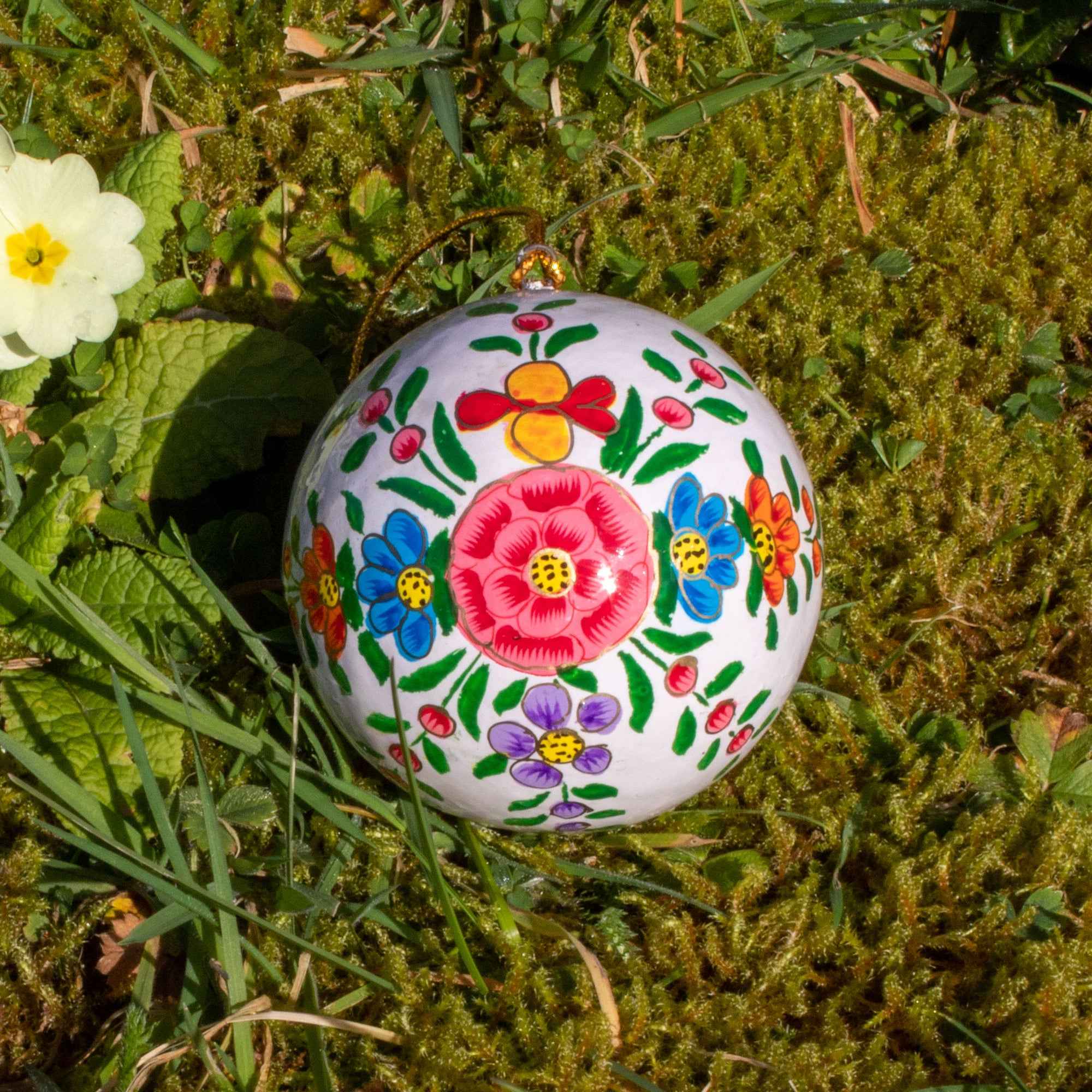 Spring/Easter Decoration - White Bauble With Painted Flowers | Decoration - The Naughty Shrew