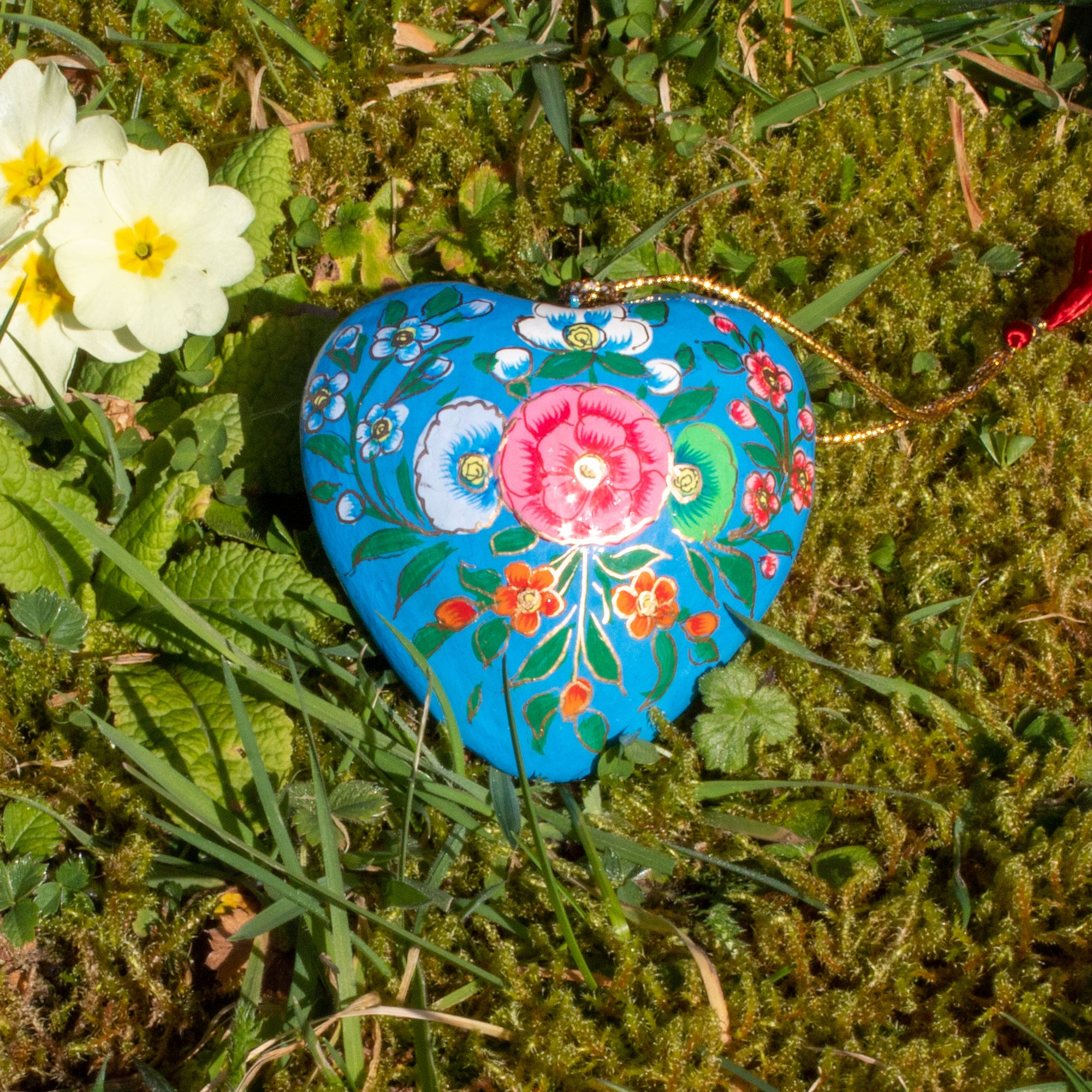 Spring/Easter Decoration - Blue Heart With Painted Flowers | Decoration - The Naughty Shrew