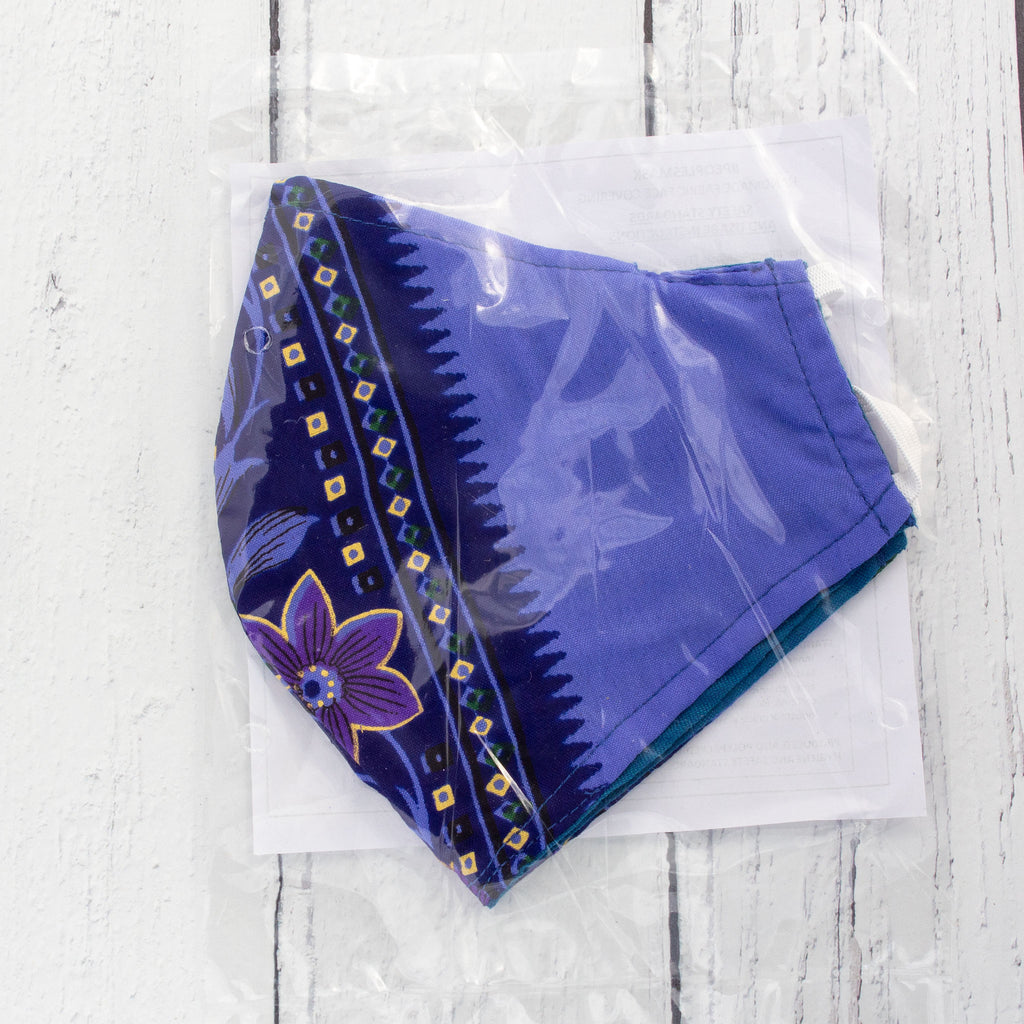 Recycled Sari Face Covering (Large Size) - Blue & Navy | Face Covering - The Naughty Shrew