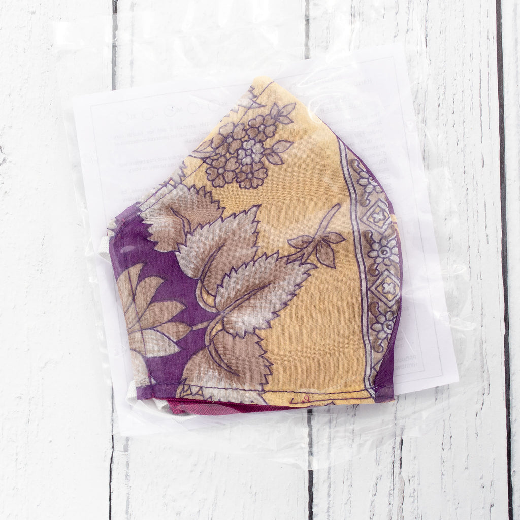 Recycled Sari Face Covering (Medium Size) - Cream & Purple | Face Covering - The Naughty Shrew