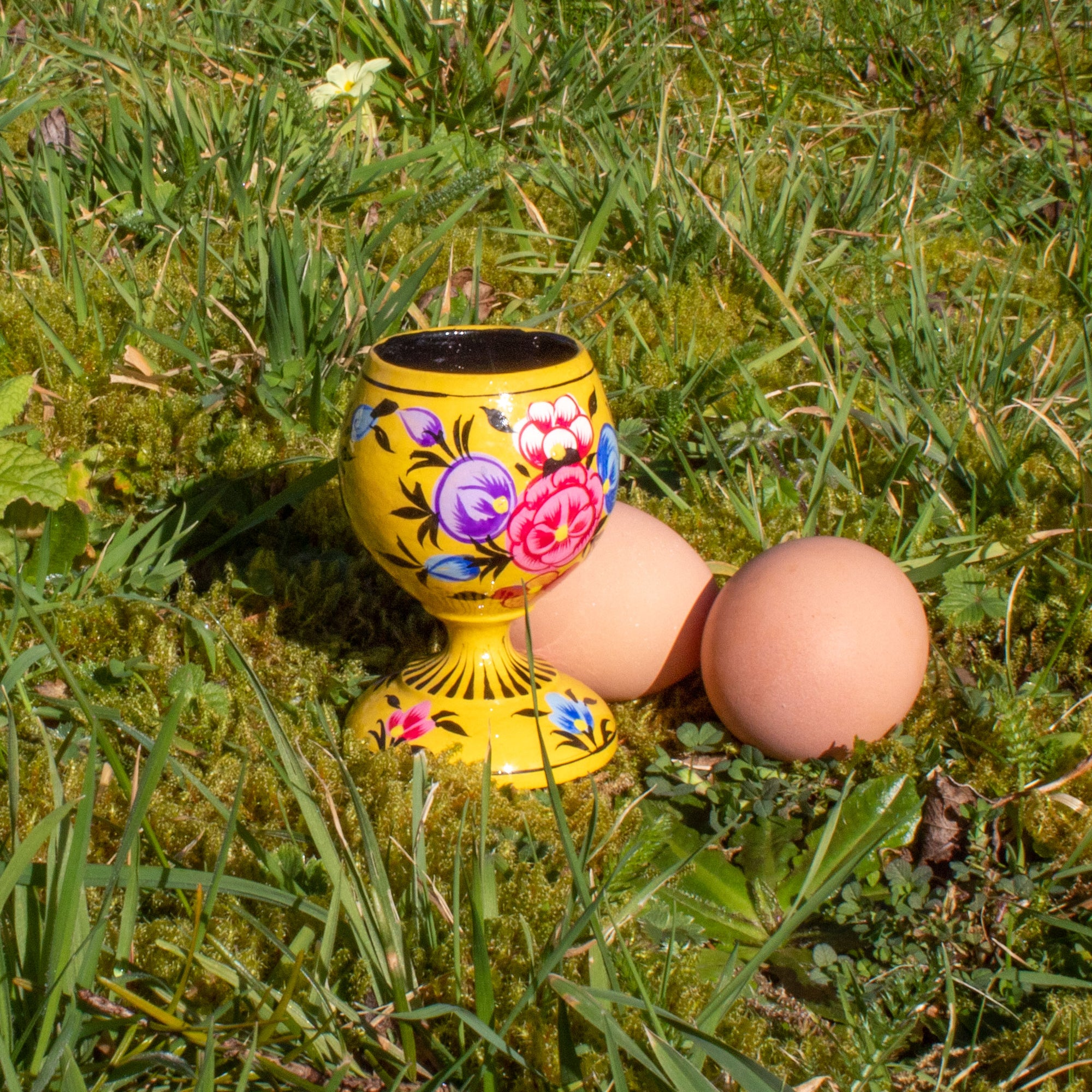 Hand Painted Decorative Egg Cup - Yellow | Egg Cup - The Naughty Shrew