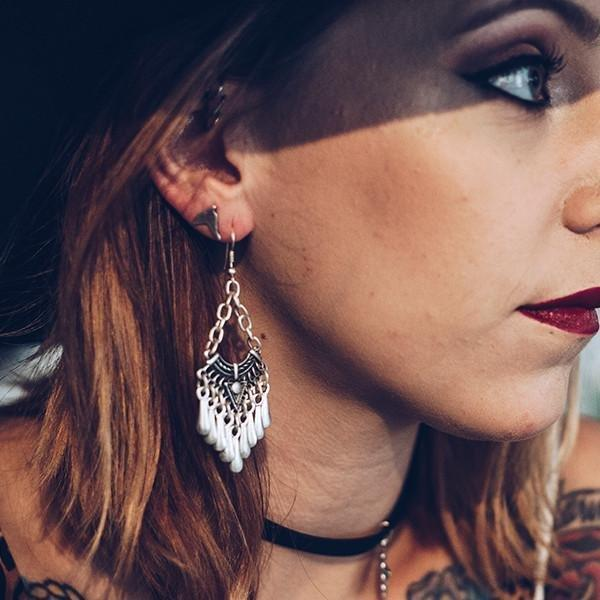 Folky tear drop earrings | Earrings - The Naughty Shrew