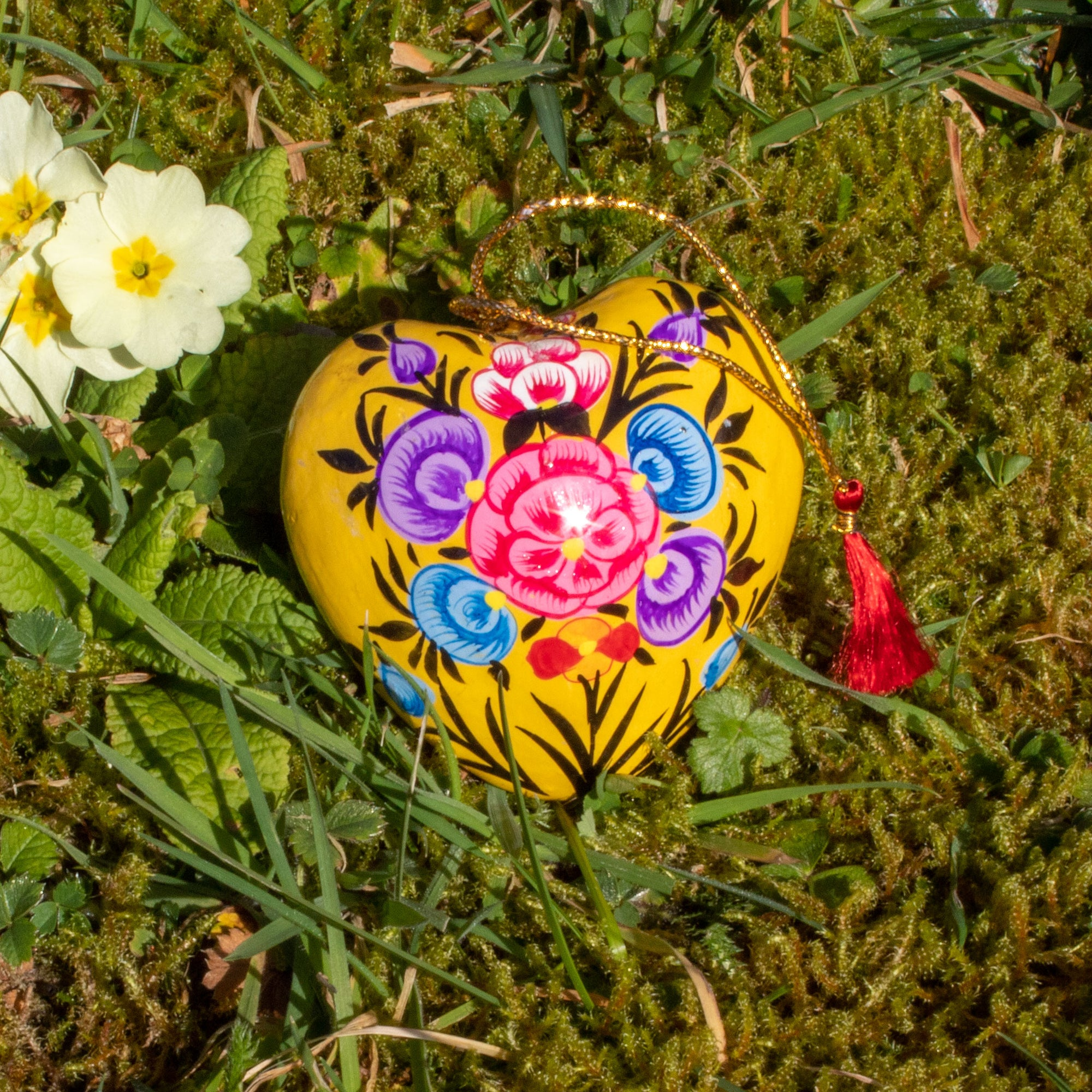 Spring/Easter Decoration - Yellow Heart With Painted Flowers | Decoration - The Naughty Shrew