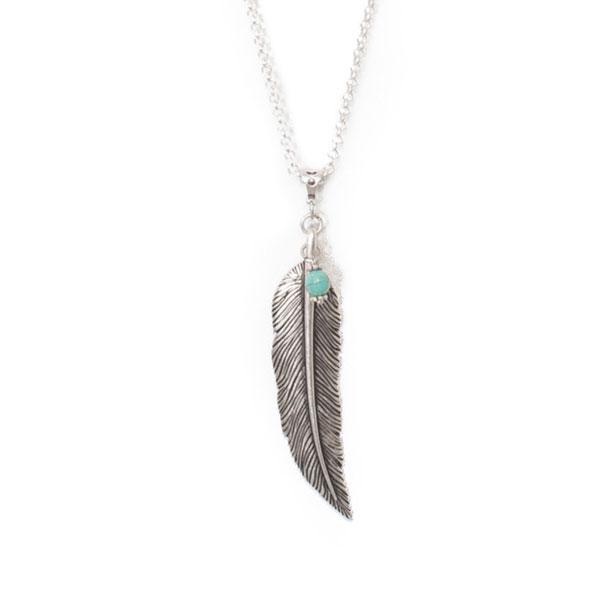 Long Feather & Turquoise Ball Necklace - The Naughty Shrew