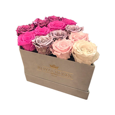 Limited Diamond Light Creamy Sueded Box - Special Collection of Real Long Lasting Roses - Lifetime is Over 1 Year - The Royal Roses