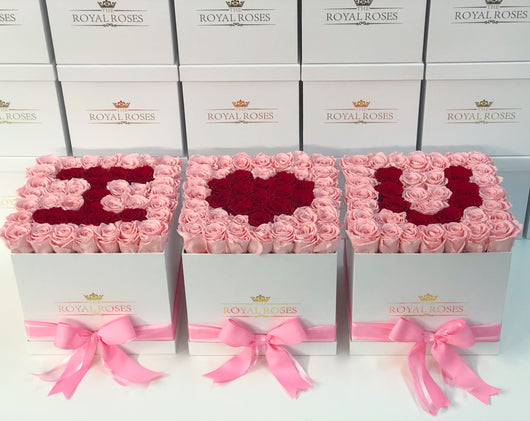 Real Long Lasting Roses - Square Box - Lifetime is Over 1 Year - The Royal Roses
