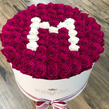 XL Round Box - Special Collection of Real Long Lasting Roses - Lifetime is Over 1 Year - The Royal Roses