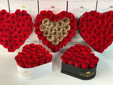 Real Long Lasting Roses - Heart Shaped Box - Lifetime is Over 1 Year - The Royal Roses