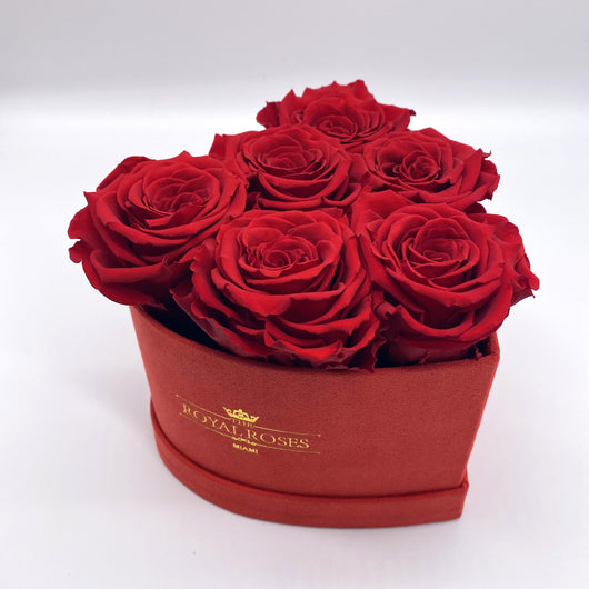 Real Long Lasting Roses - Mini Heart Shaped Box - Lifetime is Over 1 Year - The Royal Roses