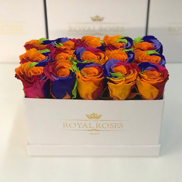 Rectangular Box White - Special Collection of Real Long Lasting Roses - Lifetime is Over 1 Year - The Royal Roses