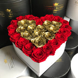our eternity long lasting roses made with love heart box
