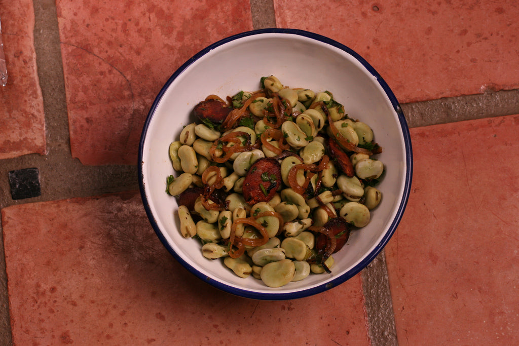 Fava Beans with Caramelized Onions and Chorizo Recipe