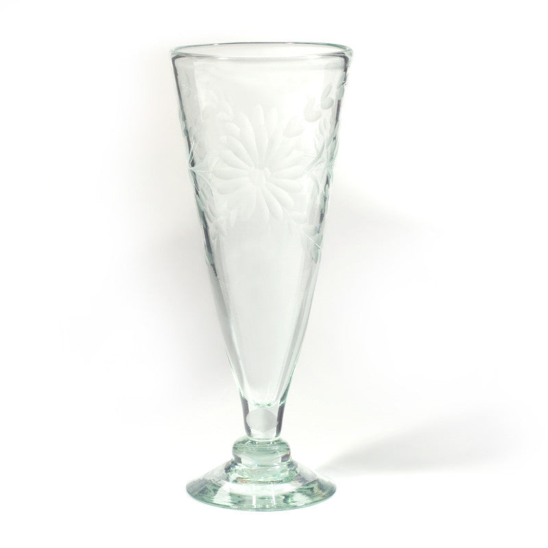 Rose Ann Hall Etched Mexican Glassware - Pilsner