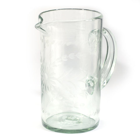 Rose Ann Hall Etched Mexican Glassware - Pitcher