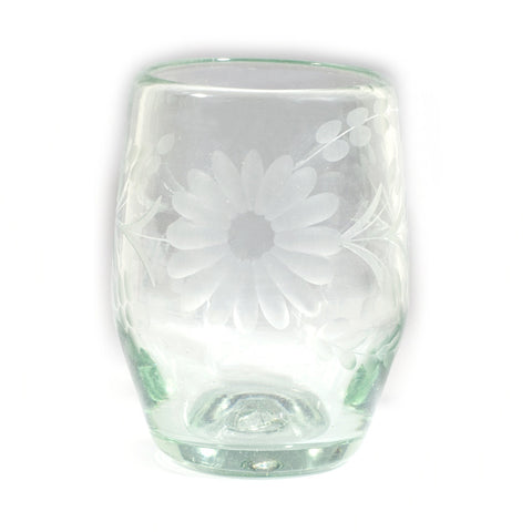 Rose Ann Hall Etched Mexican Glassware- Barrel Glass