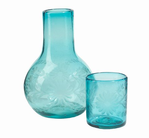 Rose Ann Hall Etched Mexican Glassware- Beside Carafe