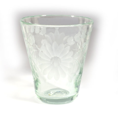 Rose Ann Hall Mexican Etched Glassware- Juice Glass