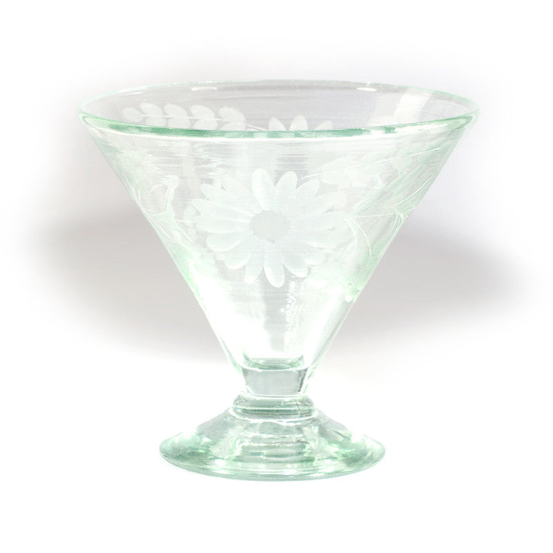 Rose Ann Hall Etched Mexican Glassware- Martini/ Dessert Glass