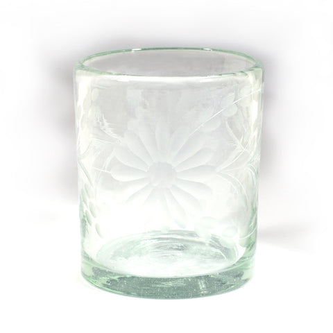 Rose Ann Hall Etched Mexican Glassware- Old Fashioned Glass
