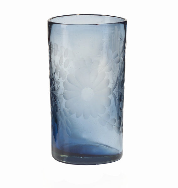 Rose Ann Hall Etched Mexican Glassware- Tall Cooler