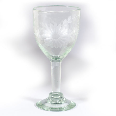 Rose Ann Hall Etched Mexican Glassware- Wine Glass