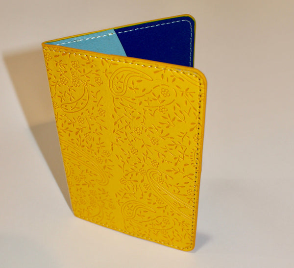 Sculpted Pattern Passport Cover in Hot Pink or Bright Yellow