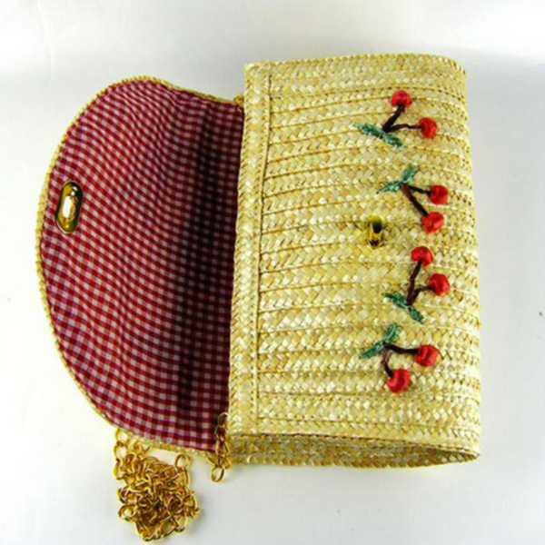 Very Cherry Straw Clutch/Crossbody