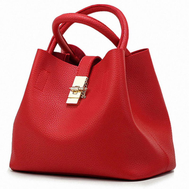 Rouge PV Faux Leather Gold Clasp Tote Bag